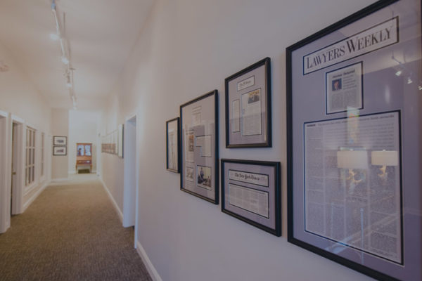 wall of awards at fayssoux and landis office