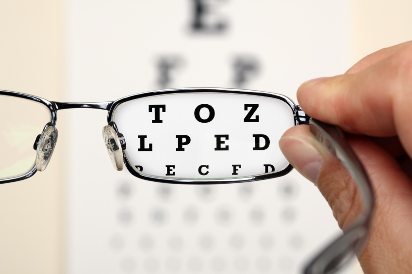 looking through eye glasses before lasik surgery